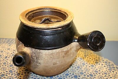 Primitive Antique Crockware Rare Rustic Asian Design Teapot Sandpot BrownPottery