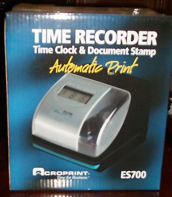 Brand NEW Acroprint ES700 Time Recorder Time Clock & Document Stamp