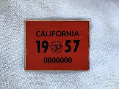 1957 California License Plate Year Registration Sticker Reflective 3M YOM Red
