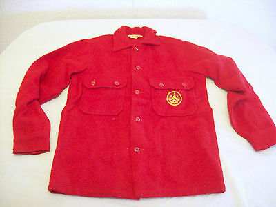 Vintage Boy Scouts Of America Boys Red Wool Official Jacket Size 18