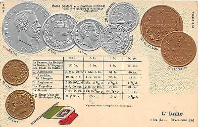 Foreign Numismatics Coin Collecting POSTCARD c1910 ITALIE Italy Centesimi 12