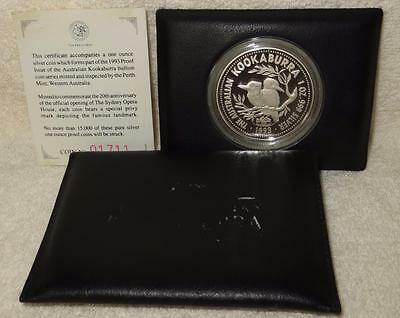 ## 1993 1oz Silver Kookaburra Proof Coin ** Sydney Opera House ** Privy Mark