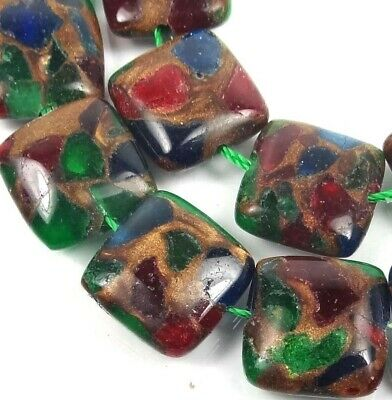 16mm Ruby Sapphire Emerald in Quartz with Pyrite / Brown Vein Square Beads (12)