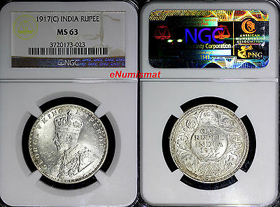 India-British George V Silver 1917 (C) Rupee NGC MS63  KM# 524