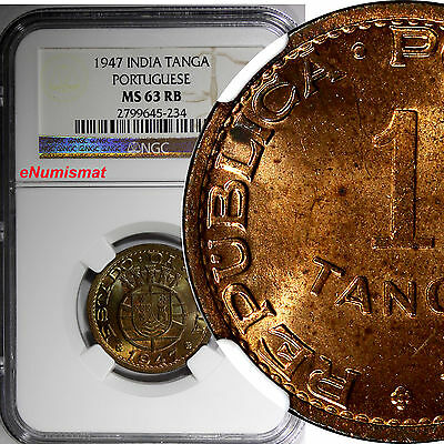 India-Portuguese Bronze 1947 1 Tanga, 60 Reis NGC MS63 RB Mostly RED KM# 24