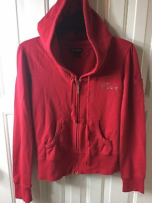 Girls Youth Guess Red Hoodie Jacket Full Zip Longsleeve Size Large