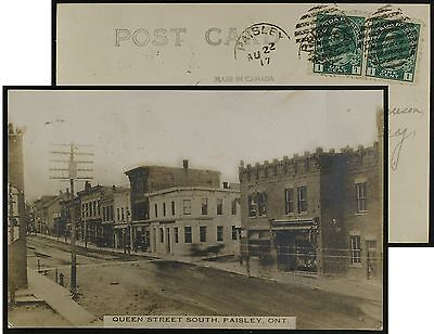 Queen St.South, Paisley, Ontario, RPPC, used 1917, pmk PAISLEY, Bruce County