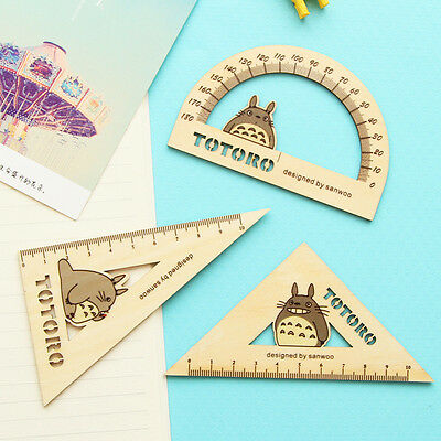My Neighbor Totoro Wooden Triangle Degree Rulers 1 set of 3pcs MM124