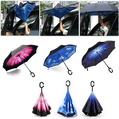 1x Reverse Umbrella Windproof Double Layer Upside Down Inverted Folding C Handle