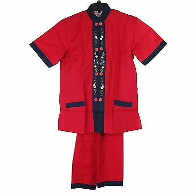 Traditional Chinese Women's Floral Jacket w/ Pants Red & Black Trim - Size L New