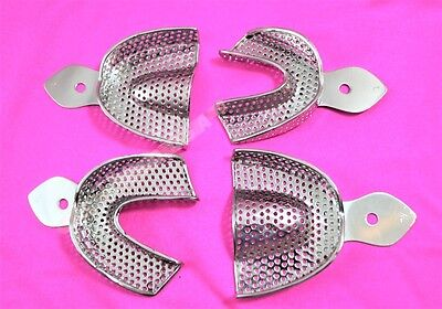 Dental Stainless Steel Perforated Impression Edentulous Trays Autoclavable 4/Set