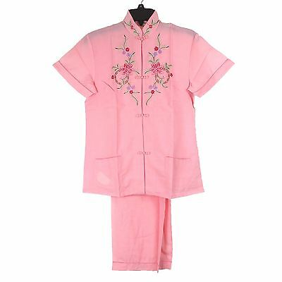 Traditional Chinese Women's Floral Embroidered Blouse Top & Pants Pink L New