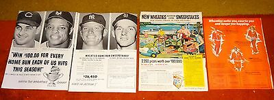 4 WHEATIES CEREAL vintage AD ADS  B68 MICKEY MANTLE