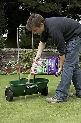 Lawn Seed Spreader Garden Grass Adjustable On/Off Switch Fast Fill Evergreen