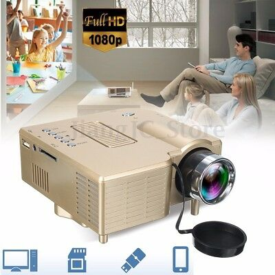 Mini Portable Multimedia LED Projector Home Cinema Theater AV USB VGA HDMI 1080p