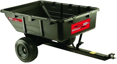 Riding Mower Cart Dump Tow Behind Utility 10 Cu Ft 650Lb Poly Body Foot Pedal