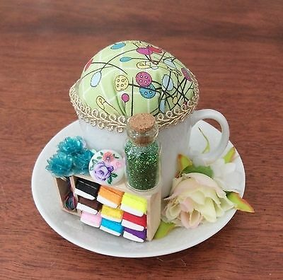 Handmade vintage style mini tea cup pin cushion keep sewing craft gift quilter 6