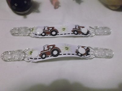 pair mitten glove clips baby girl boy child red tractor farm like massey xmas