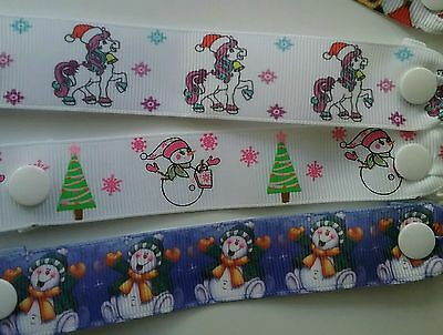 Pr Childs mitten clips santa pony snowmen Christmas gloves keepers ribbon horse