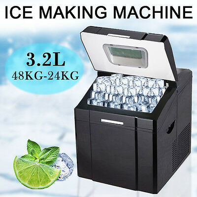 40~53 lb/day Deluxe Ice Maker Portable Compact Counter Top Cube Machine Black