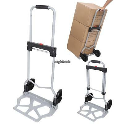 220lbs Folding Dolly Push Cart Push Hand Truck Moving Luggage Platform Trolley