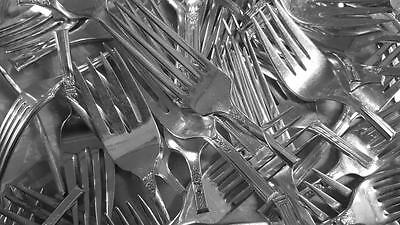 80 Pieces Silverplate FORK Heads Ends Cut-offs for Crafts Silverware Flatware