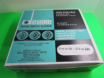 Assortment Plastic Round Watch Glasses Sizes From 230-276  Each Size 10 Pcs