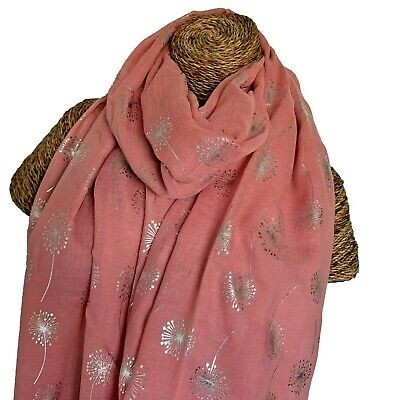 580c6502a Pale Pink Scarf With Silver Foil Glitter Dandelions Ladies Superb Soft  Quality