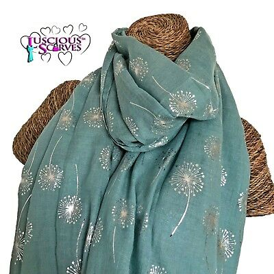 6922cfcd2 Mint Green Scarf With Silver Foil Glitter Dandelions Ladies Superb Soft  Quality