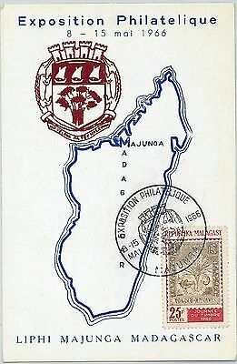 62873 -  MADAGASCAR - POSTAL HISTORY: MAXIMUM CARD 1966 - MAPS Animals CROCODILE