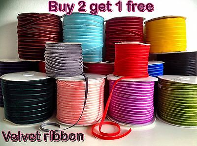 VELVET RIBBON BUY 2 GET 1 FREE  5mm-25mm 1-5M velveteen gr8 for chocker necklace