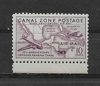 CANAL ZONE , US , 1939 , AIR MAIL , AIRPLANES/MAP , 10c STAMP , PERF , MNH