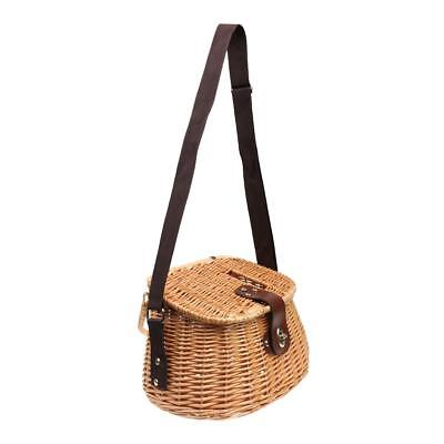 Fish Basket Wicker Fishing Creel Tackle Vintage Bass Trout Perch Fish Brown