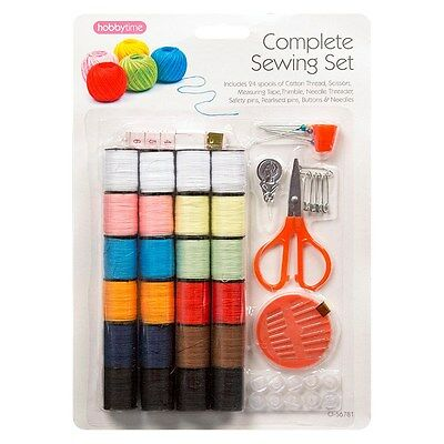Complete Sewing Set Cotton Thread Buttons Needles Pins Thimble Scissors Tape Kit