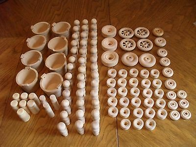 Wood Craft (Unpainted) Pieces - Wheels. Buckets, Passengers, Containers - (100+)