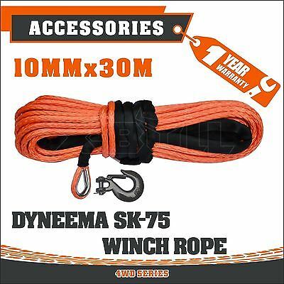 Winch Rope Dyneema SK75 Hook 10MM x 30M Synthetic Car Tow Recovery Cable