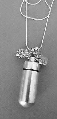 keepsake urn, In Loving Memorial loss of dog/cat diamante paw necklace