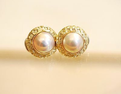 Harper & Faye 14k Yellow Solid Gold Mabe Pearl Earrings 10 grams Gorgeous!