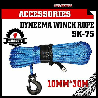 Dyneema SK75 Winch Rope Hook 10MM x 30M Synthetic Car Tow Recovery Cable Blue