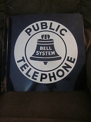 "Bell System ""PUBLIC TELEPHONE"" Sign- Double Sided 18""x18"" Flanged"