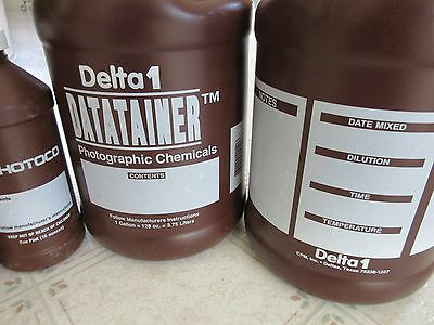 Two 1 Gallon Delta1 Datatainer Photographic Chemicals Storage Bottles + bonus