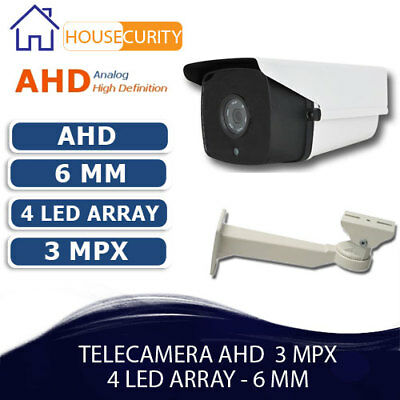 Telecamera Bullet 3 Mp Ahd Focale 6 Mm Antivandalo Filtro Meccanico Led Array