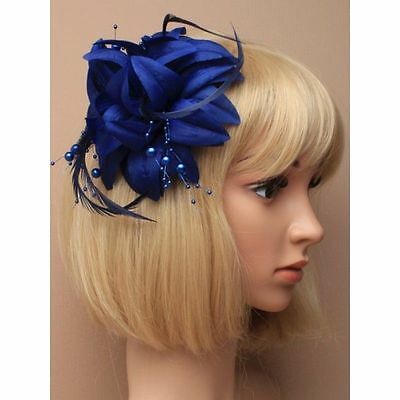 Navy blue with hanging pearls fascinator on a clip, for weddings, races, prom