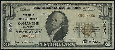 1929 T-1 $10 The First National Bank of Comanche, Oklahoma #6299
