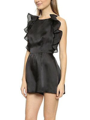 119bbad92b65 Keepsake Black Falling for You Silk Ruffle Sleeveless Evening Playsuit  Romper
