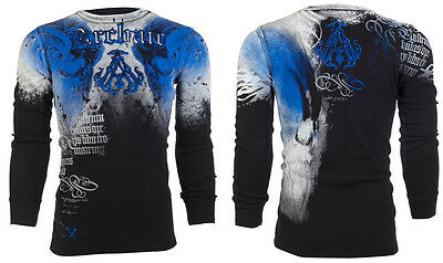 ARCHAIC by AFFLICTION Mens LONG SLEEVE THERMAL Shirt NIGHTWATCHER Skulls $58 a