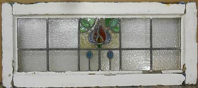"OLD ENGLISH LEADED STAINED GLASS WINDOW TRANSOM Pretty Floral 34.5"" x 15"""