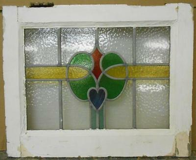 """OLD ENGLISH LEADED STAINED GLASS WINDOW Abstract with Heart 20.5"""" x 16.5"""""""