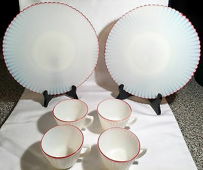 6 Pieces of MacBeth-Evans Petalware Cremax Red Primary~4 Cups~2 Dinner Plates
