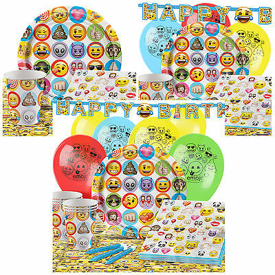 Emoji Complete Birthday Party Pack Tableware Kits - For 8 or 16 Guests
